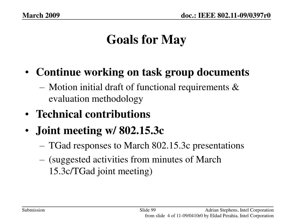 Goals for May