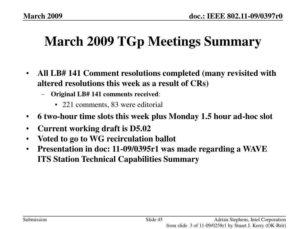 March 2009 TGp Meetings Summary