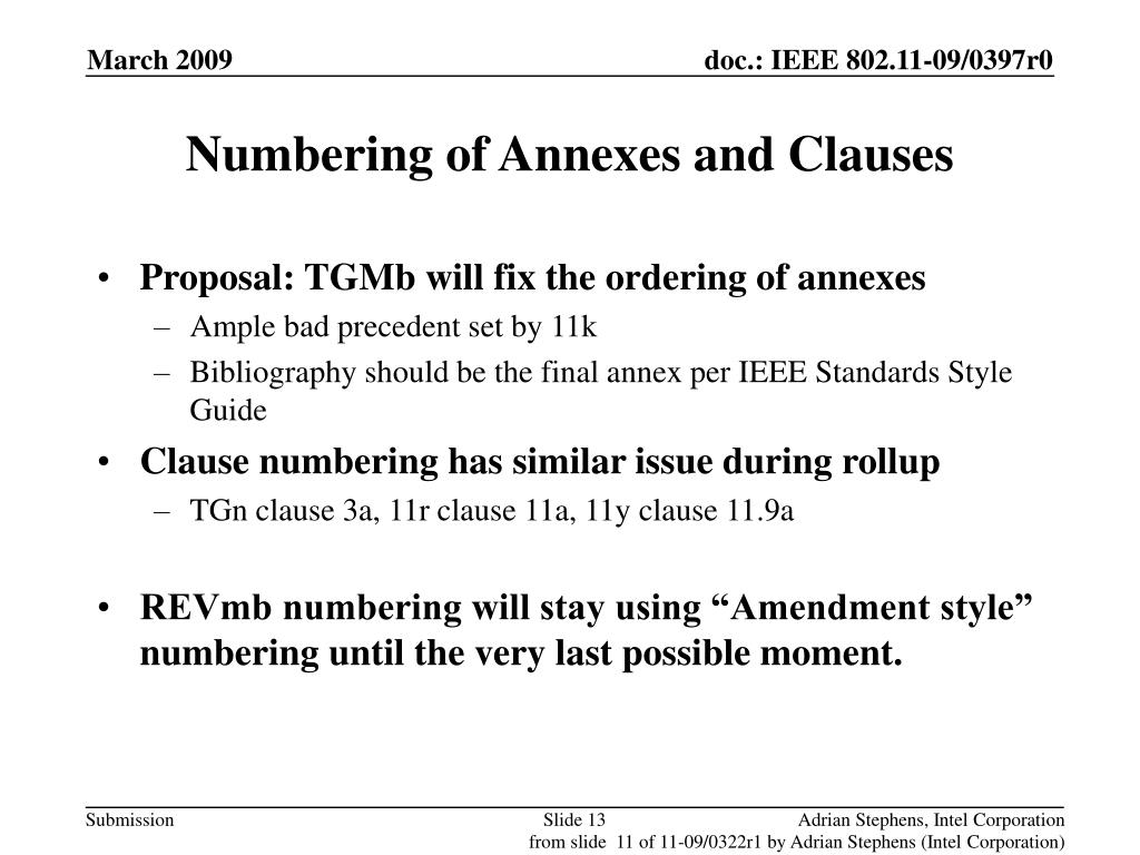 Numbering of Annexes and Clauses