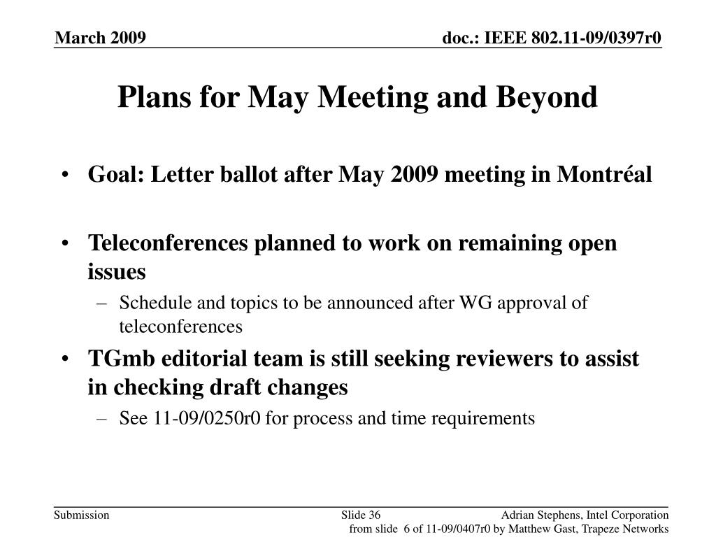 Plans for May Meeting and Beyond