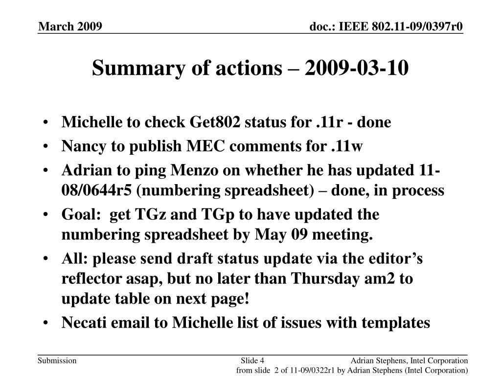Summary of actions – 2009-03-10