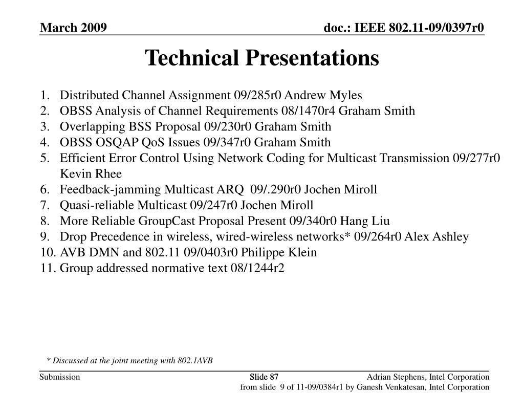 Technical Presentations