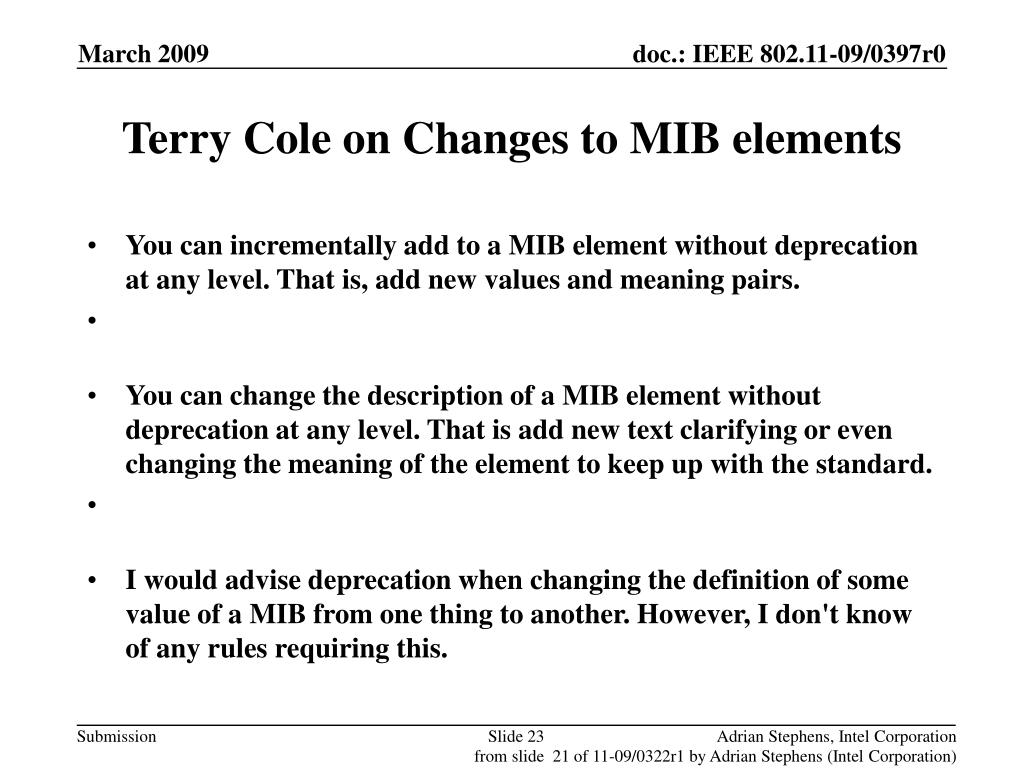 Terry Cole on Changes to MIB elements
