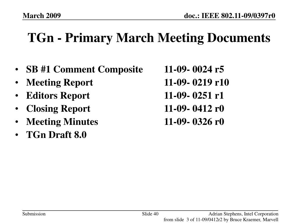 TGn - Primary March Meeting Documents