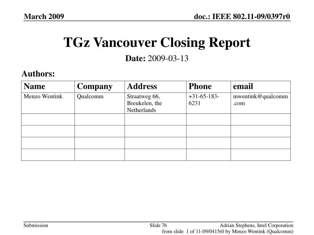TGz Vancouver Closing Report