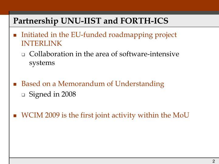 Partnership unu iist and forth ics