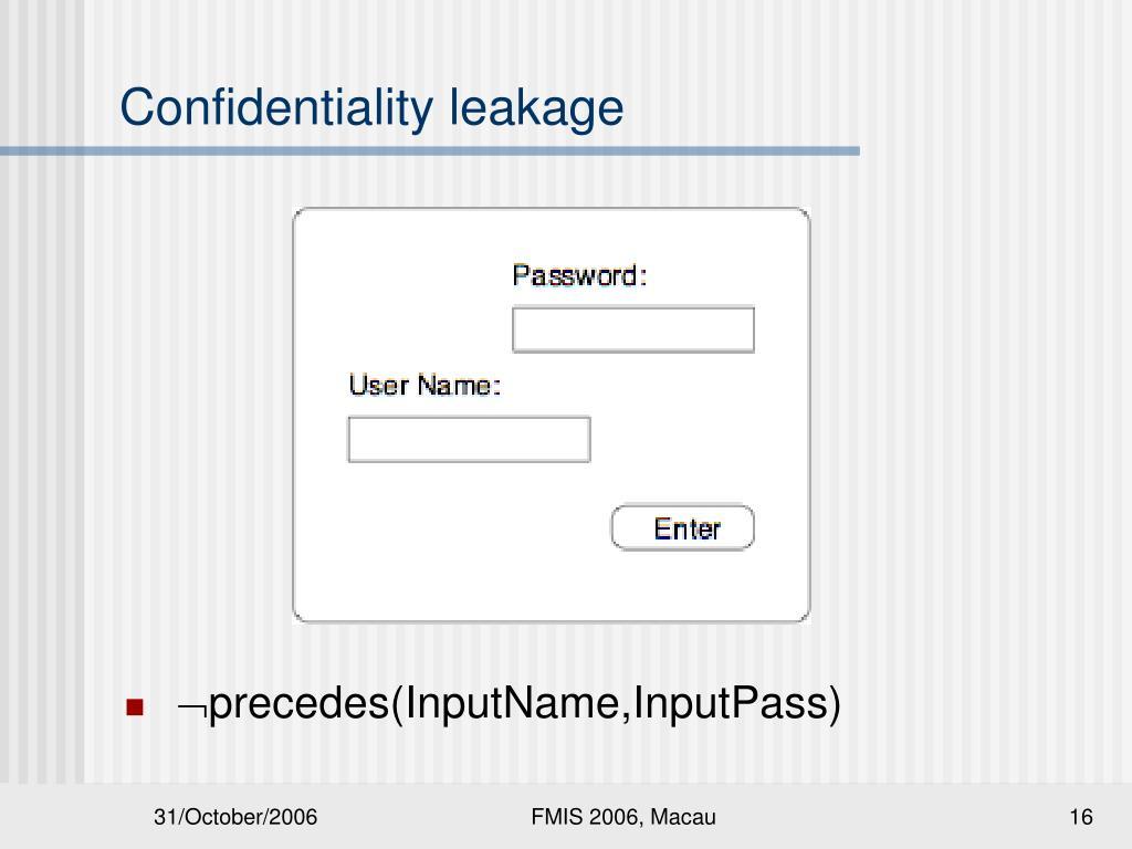 Confidentiality leakage