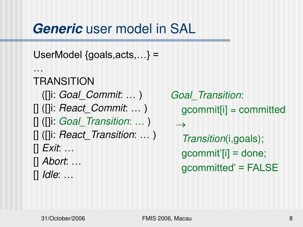 UserModel {goals,acts,…} =