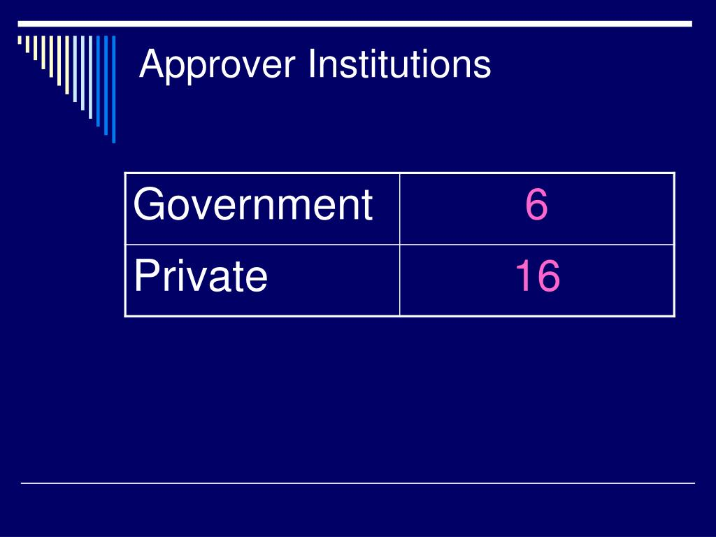 Approver Institutions