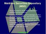 maldives securities depository msd13