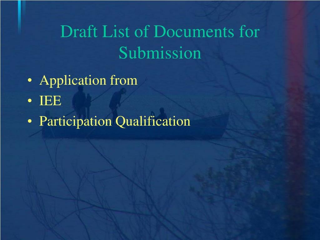Draft List of Documents for Submission