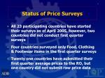 status of price surveys