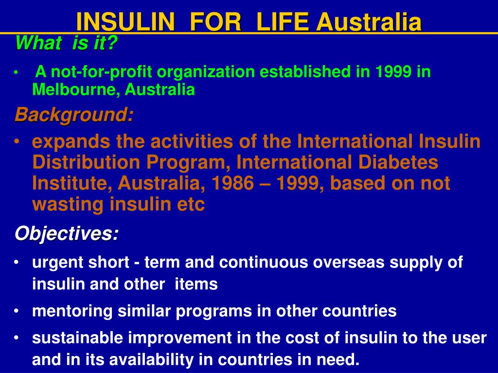 INSULIN  FOR  LIFE