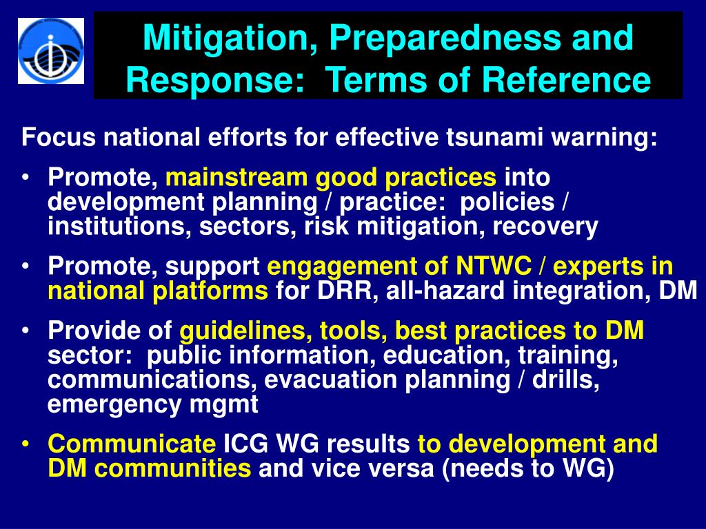 Mitigation, Preparedness and Response:  Terms of Reference