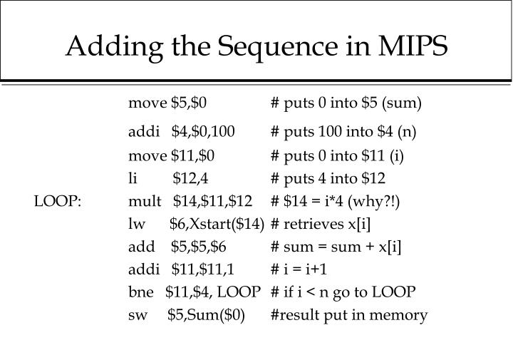 Adding the Sequence in MIPS