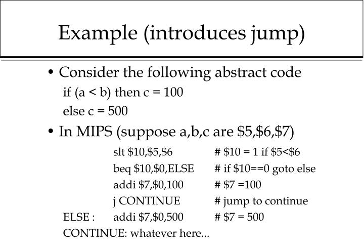 Example (introduces jump)