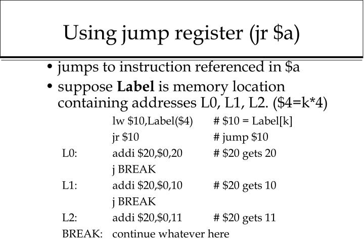 Using jump register (jr $a)