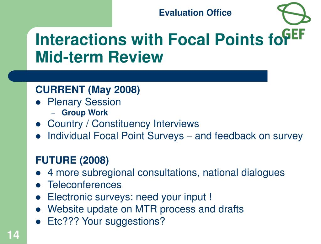 Interactions with Focal Points for Mid-term Review