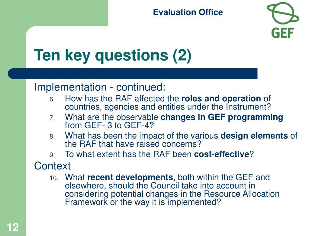 Ten key questions (2)