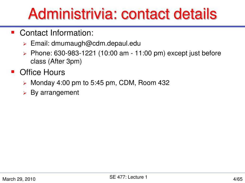 Administrivia: contact details