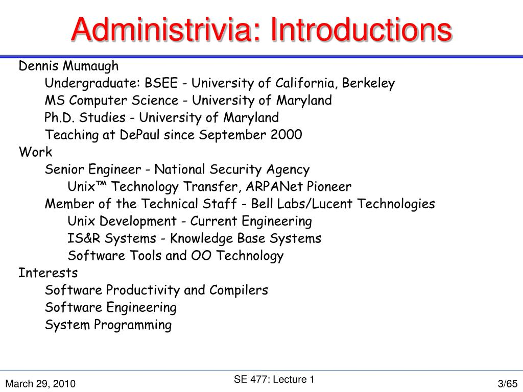 Administrivia: Introductions