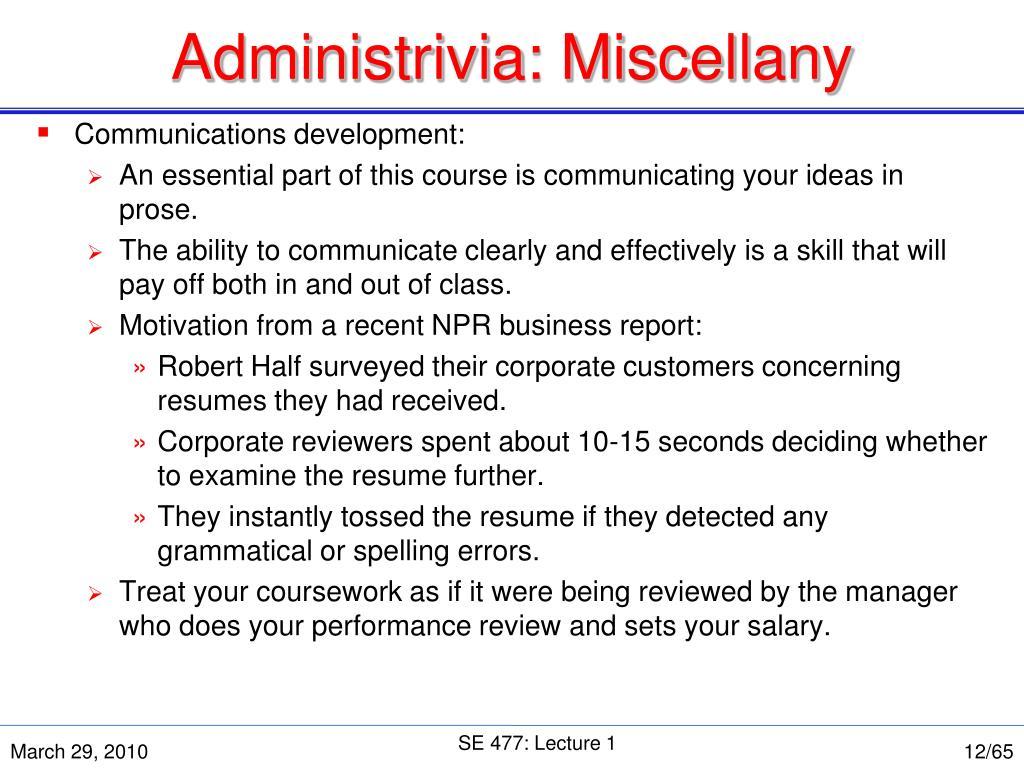 Administrivia: Miscellany