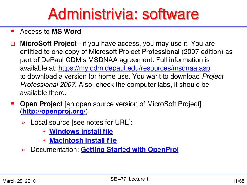 Administrivia: software