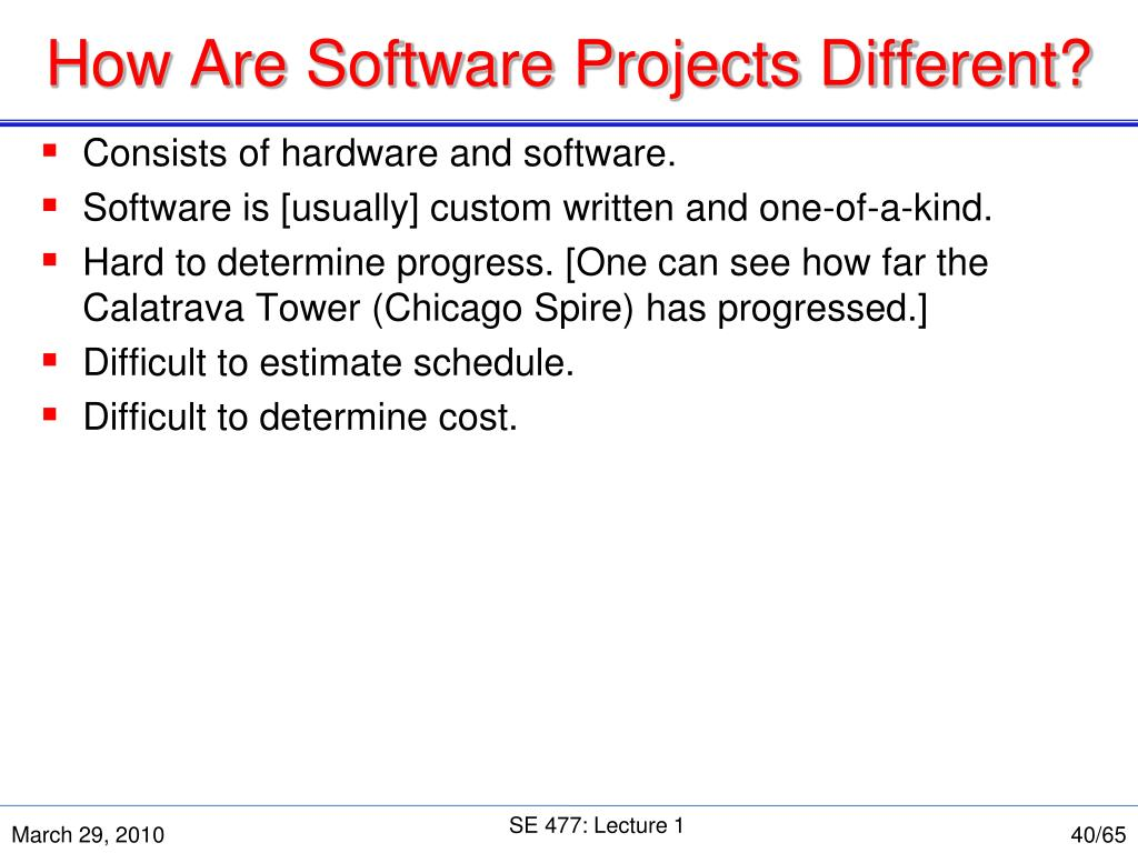How Are Software Projects Different?