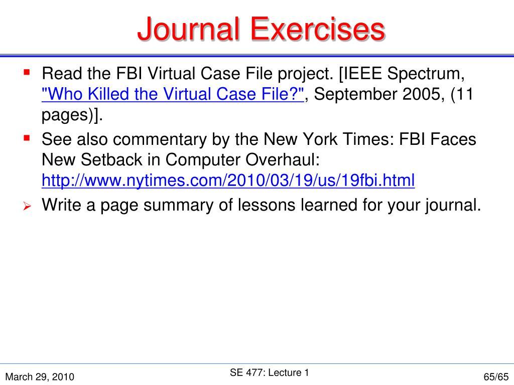 Journal Exercises