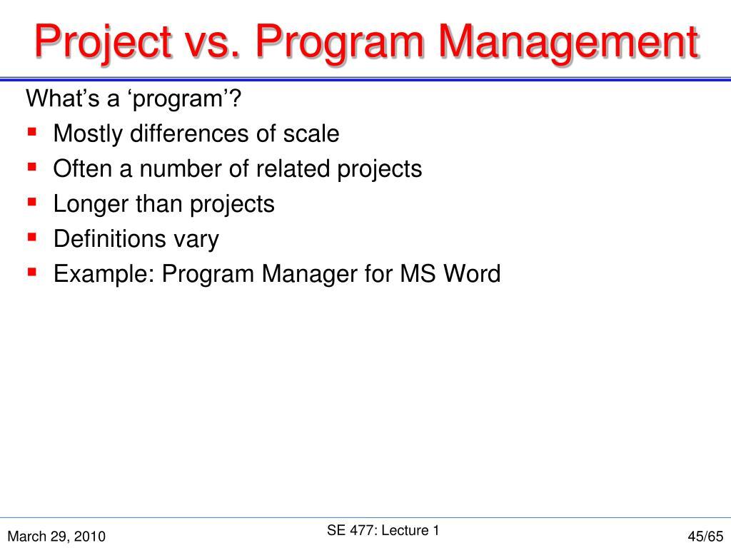 Project vs. Program Management