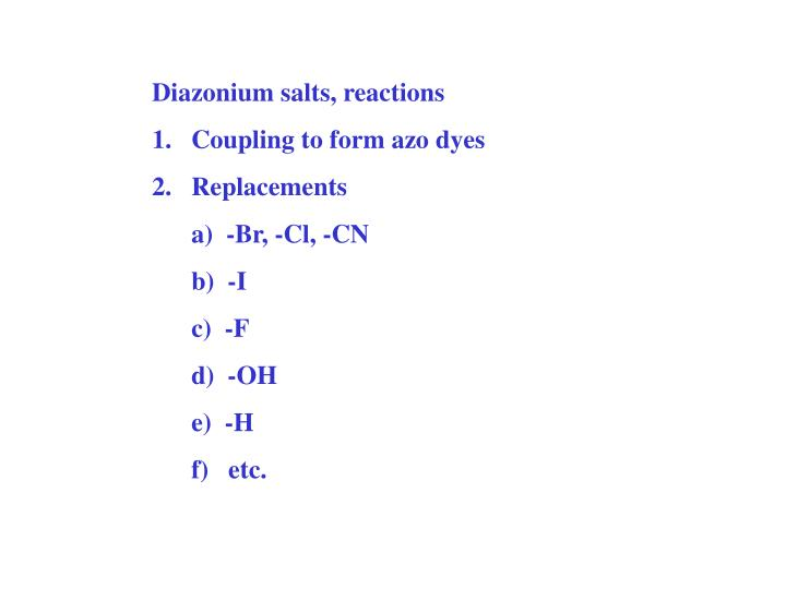 Diazonium salts, reactions