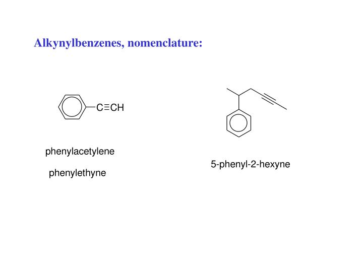 Alkynylbenzenes, nomenclature: