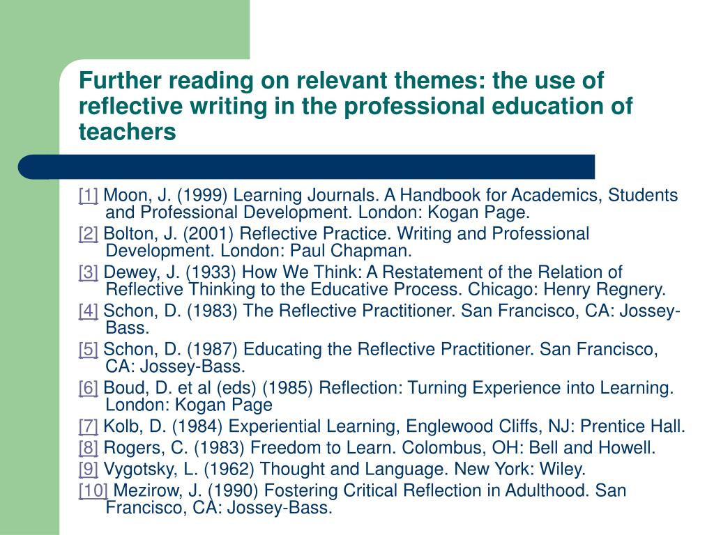 Further reading on relevant themes: the use of reflective writing in the professional education of teachers