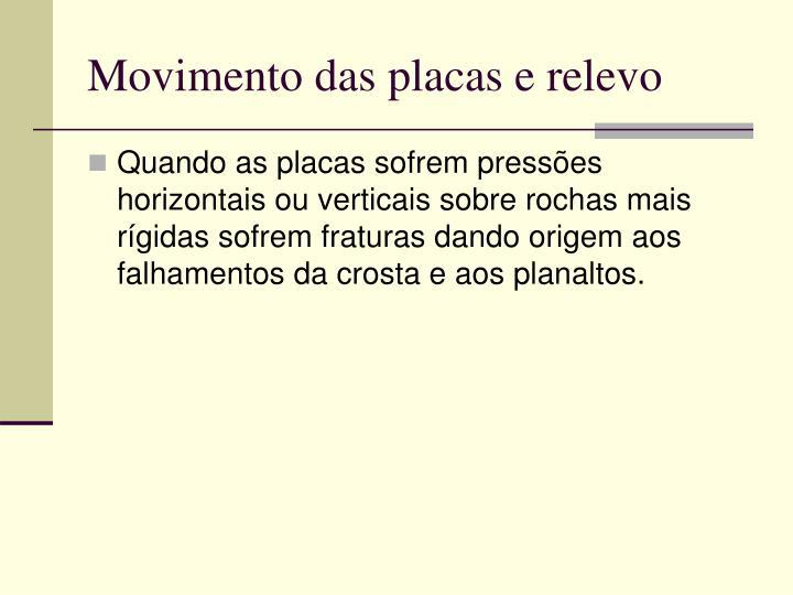 Movimento das placas e relevo