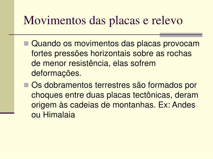Movimentos das placas e relevo