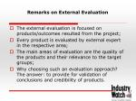 remarks on external evaluation