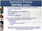 application process writing cont