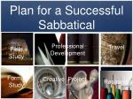 plan for a successful sabbatical