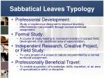 sabbatical leaves typology