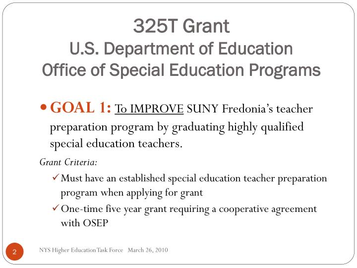 325t grant u s department of education office of special education programs
