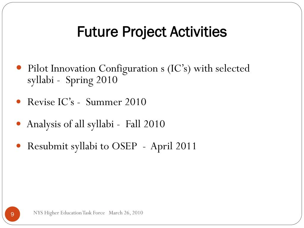 Future Project Activities