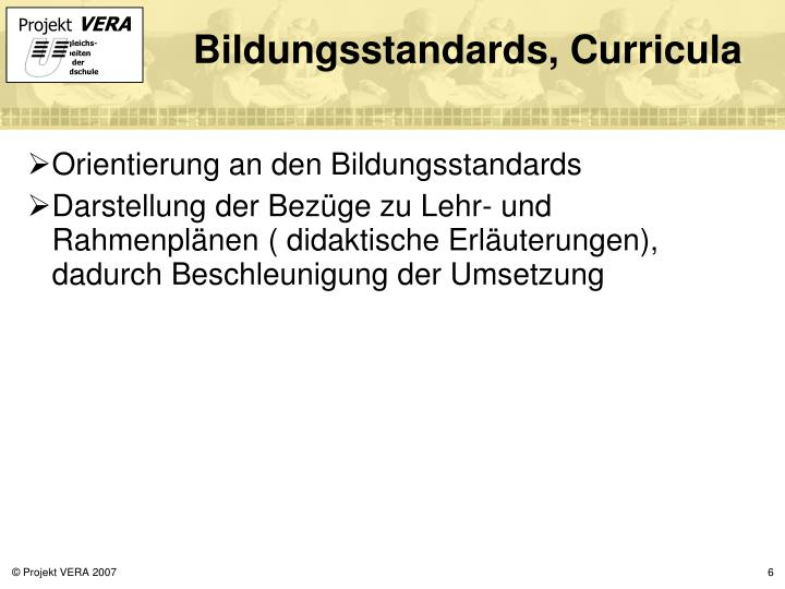 Bildungsstandards, Curricula