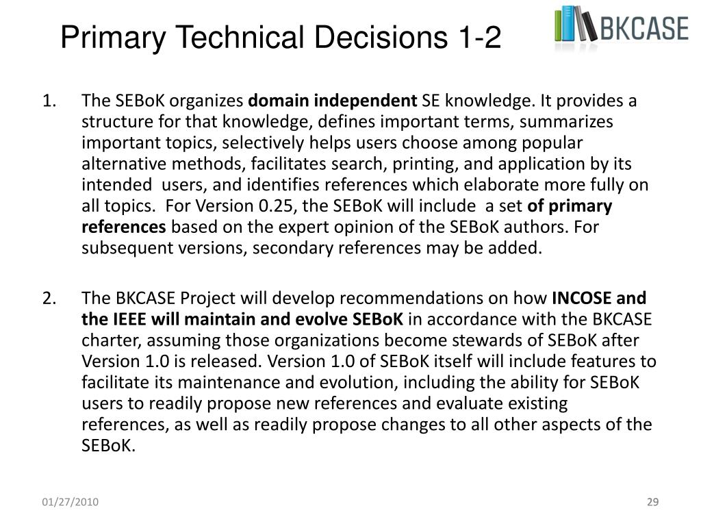 Primary Technical Decisions 1-2