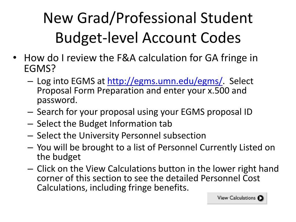 New Grad/Professional Student Budget-level Account Codes