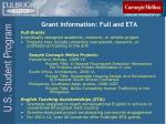 grant information full and eta