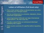 letters of affiliation full grant only