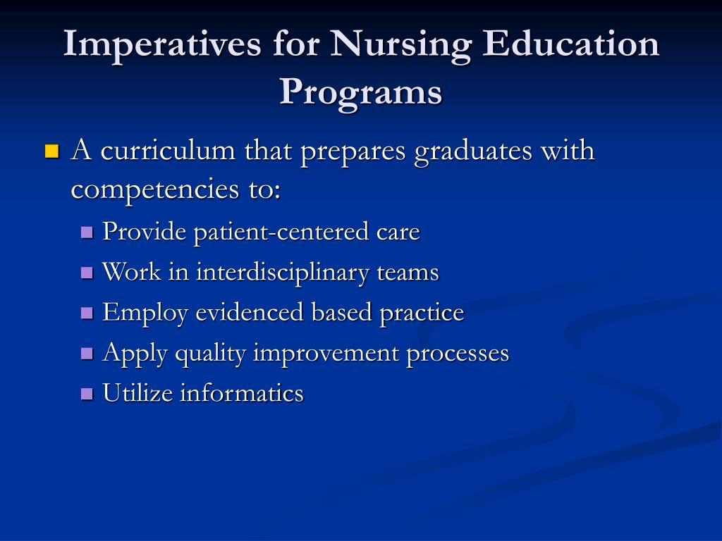 Imperatives for Nursing Education Programs