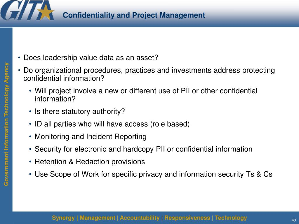 Confidentiality and Project Management