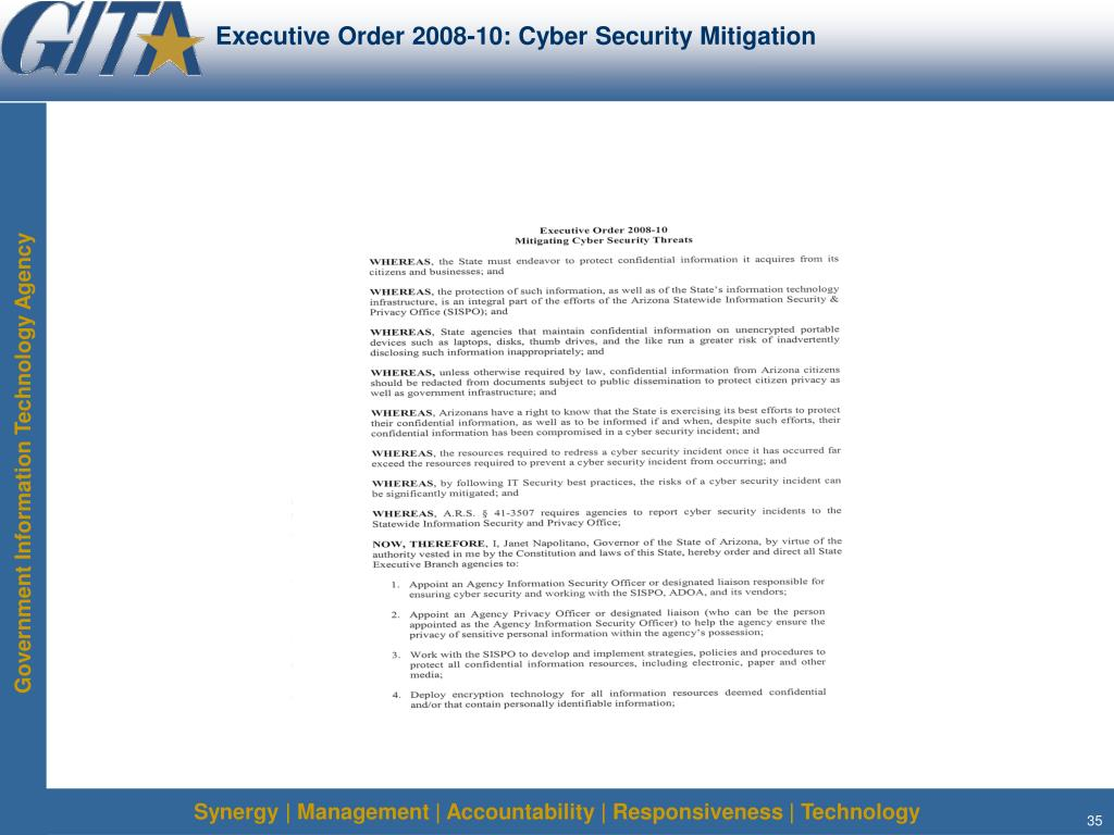 Executive Order 2008-10: Cyber Security Mitigation
