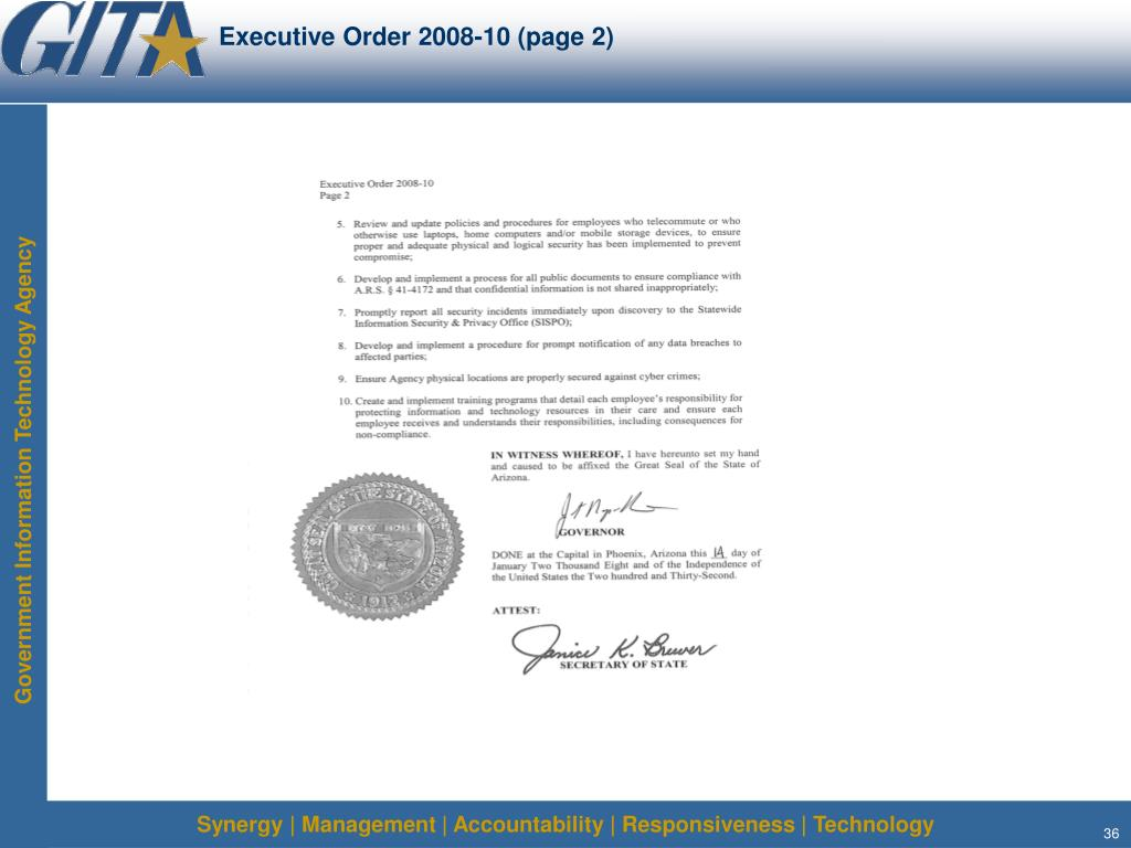 Executive Order 2008-10 (page 2)